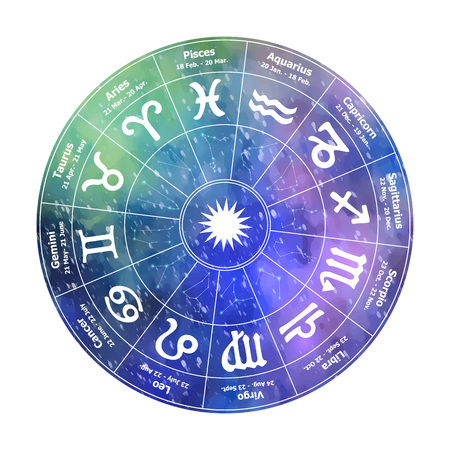 Circle with signs of  astrology on  background. Vector ill Ilustração