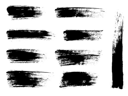 Painted grunge stripes set. Black labels, background, paint texture. Brush strokes vector. Handmade design elements