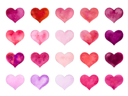 Watercolor hearts for St. Valentine s Day. Vector illustration