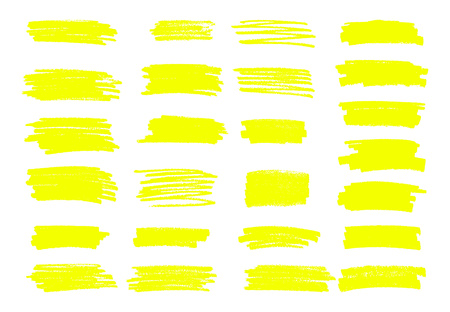 Marker yellow lines. Vector highlighter brush lines. Hand drawin