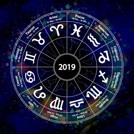 Circle with signs of zodiac on watercolor background. Vector ill Vektoros illusztráció