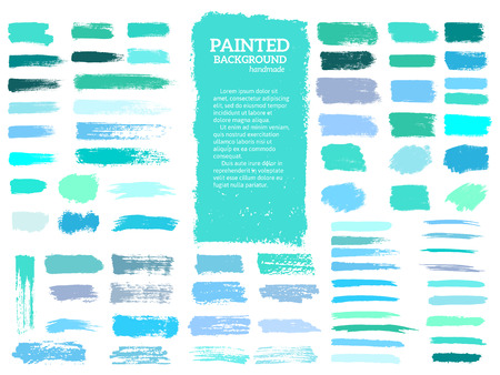 Painted grunge stripes set. Blue and green labels, background, paint texture. Brush strokes vector. Handmade design elements