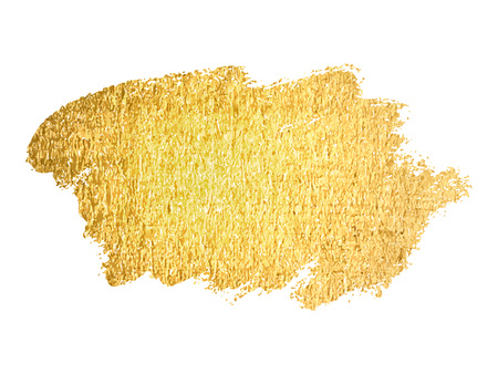Vector gold paint smear stroke stain. Abstract gold glittering textured art illustration. Illustration