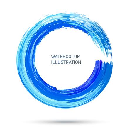 Texture de cercle de couleur aquarelle. Trait rond d'encre sur fond blanc. Illustration vectorielle de taches de cercle grunge