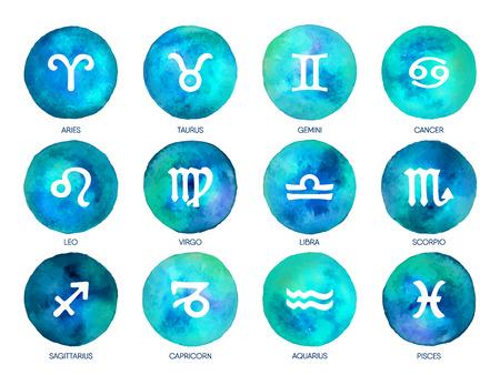 Icônes du zodiaque sur fond aquarelle. Dessin à main levée.