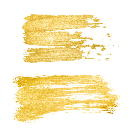 Tratto di pennello dorato vettoriale, pennello, linea o trama. Elemento di disegno del tratto di pennello disegnato a mano, scatola, cornice o sfondo per il testo. Macchia di vernice con struttura dorata
