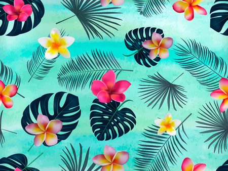 Seamless vector pattern with silhouette palm leaves and orchid on green background. Vector