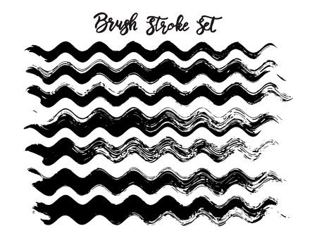 Black brush stroke waves vector set. Hand drawn vector brush strokes, ink splashes, watercolor brush, hand painted curls, design paint brush