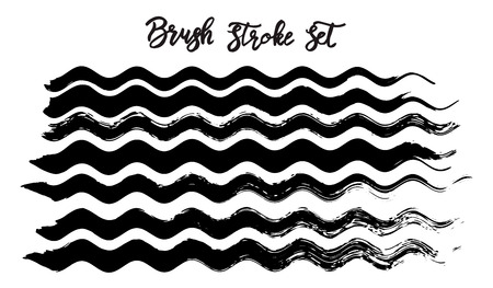 Black brush stroke waves vector set. Hand drawn vector brush strokes, ink splashes, watercolor brush, hand painted curls, design paint brush