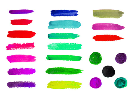 Watercolor color stripes for design. Vector. Hand drawn lines