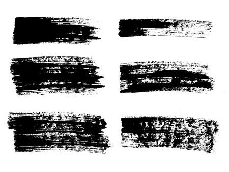 Painted grunge stripes set. Black labels, background, paint texture. Brush strokes vector. Handmade design elements.