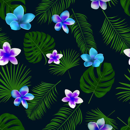 Seamless hand drawn tropical vector pattern with orchid flowers and exotic palm leaves on dark background. Çizim