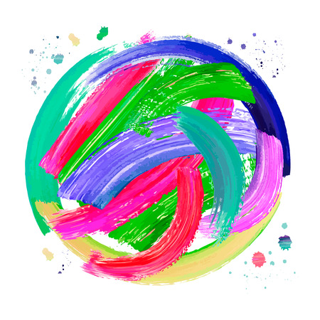 Painting background of a colorful brush stroke oil or acrylic paint design element for presentations, flyers, leaflets, postcards and posters. Vector illustration