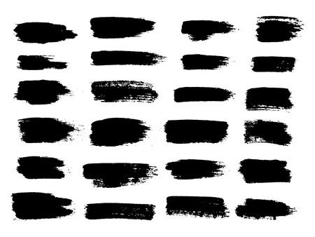Painted grunge stripes set. Black labels, background, paint texture. Brush strokes vector. Handmade design elements. Vector