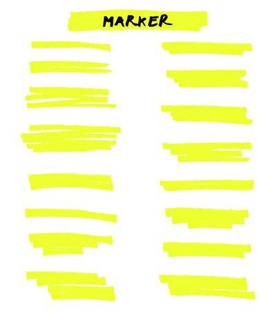 Lignes de pinceau de surligneur de vecteur jaune sur fond blanc. Dessin à main levée.