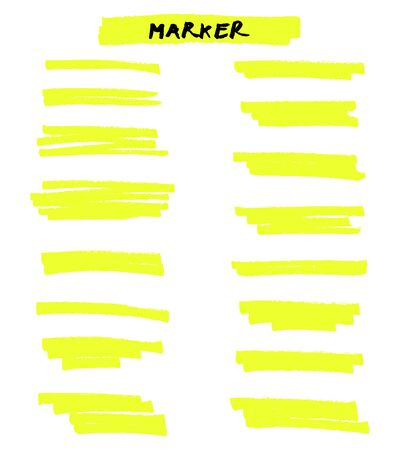 Vector yellow highlighter brush lines on white background. Hand drawing.