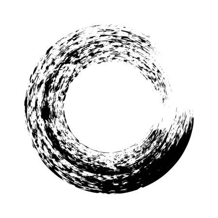 Black ink round brush stroke on white background. Vector illustration of grunge circle stains