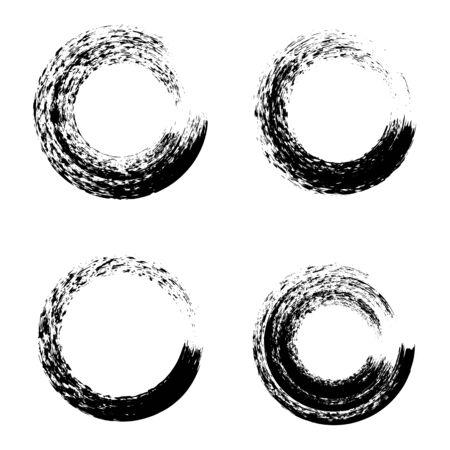 Set of black ink round brush stroke on white background. Vector illustration  イラスト・ベクター素材