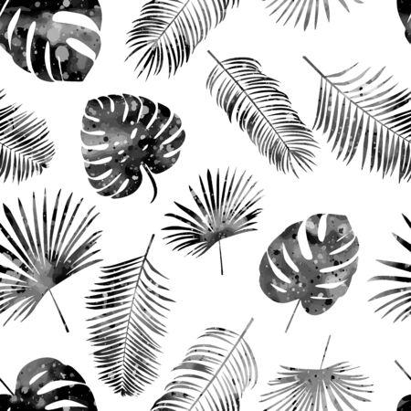 Modello disegnato a mano senza cuciture con foglie di palma nere su sfondo bianco. Vettore