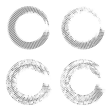 Halftone dots in circle form. Abstract Geometric shape. Graphic design element. Vector