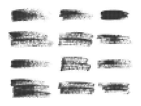 Halftone dots in lines . Paint brush strokes. Graphic design element. Vector Ilustração