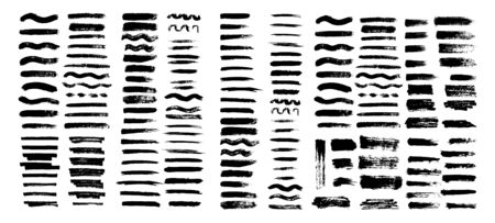 Painted grunge stripes set. Black labels, background, paint texture. Brush strokes vector. Handmade elements. Banque d'images - 134852874