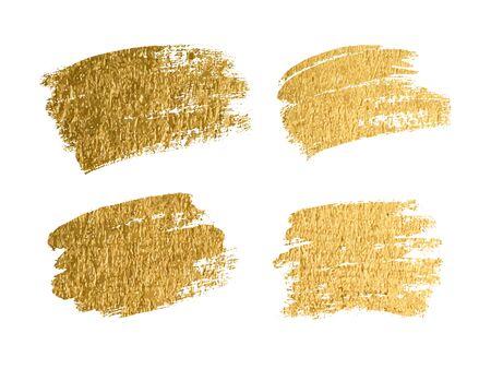 Gold paint smear stroke stain set. Abstract gold glitter texture art illustration. Vector Foto de archivo - 134865480