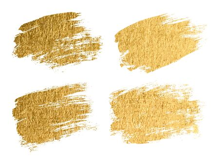 Gold paint smear stroke stain set. Abstract gold glitter texture art illustration. Vector Foto de archivo - 134865600