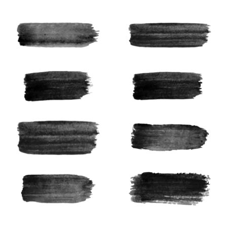 Painted grunge stripes set. Black labels, background, paint texture. Brush strokes vector. Banque d'images - 138369769