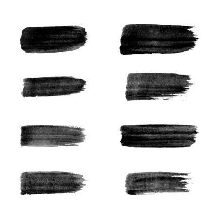 Painted grunge stripes set. Black labels, background, paint texture. Brush strokes vector. Handmade design elements. Banque d'images - 138393172