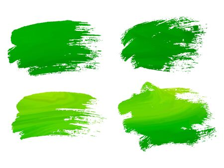 Abstract watercolor green brush strokes isolated on white, creative illustration,fashion background. Vector