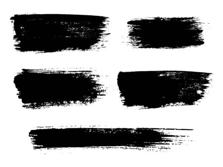 Painted grunge stripes set. Black labels, background, paint texture. Brush strokes vector. Handmade design elements. Vector illustration