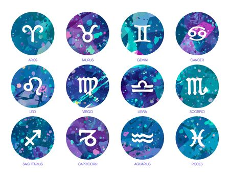Zodiac icons on watercolor background. Free Hand drawing.