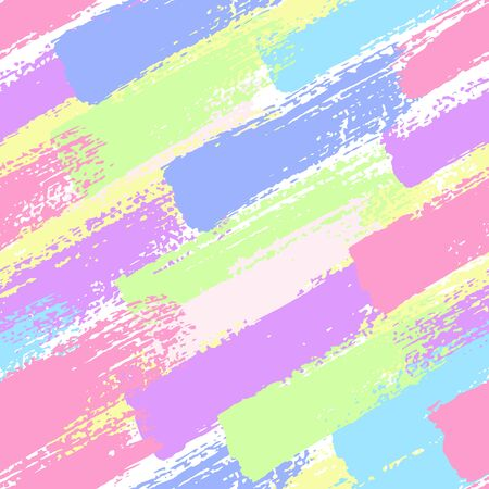 Seamless pattern with pastel color brush strokes. Colorful abstract background. Vector