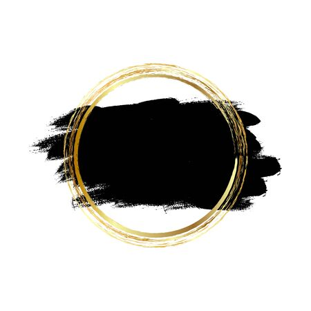 Black paint, ink brush strokes, brushes, lines with gold circle. Dirty artistic design elements, frames for text.