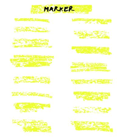 Vector yellow highlighter brush lines on white background. Ilustrace
