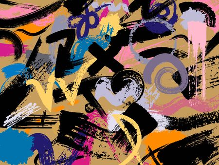 Color painting background. Brush strokes on the gold background. Hand drawn illustration. Vector