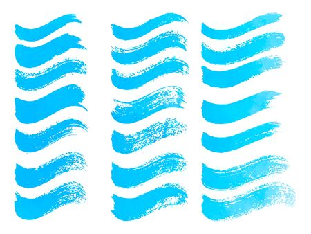 Abstract watercolor blue brush strokes isolated on white, creative illustration,fashion background. Vector