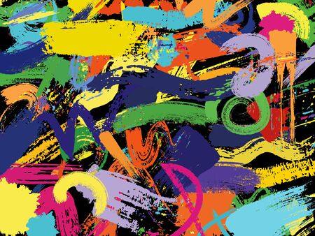 Color painting background. Brush strokes on the black background. Hand drawn pattern. Vector illustration