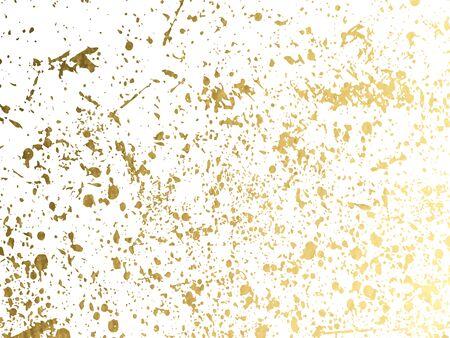Puntini rotondi dorati o sfondo di lustrini scintillanti. Texture spray disegnata a mano. Macchie dorate, scintille, scintillii o glitter su modello di sfondo bianco. Vettore