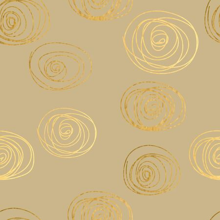 Gold texture. Circles seamless pattern. Abstract gold glitter background. Vector