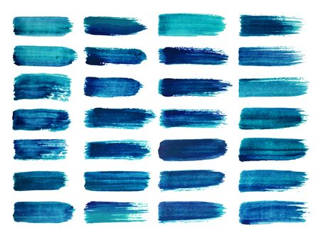Deep blue watercolor brush strokes set. Abstract shape. Paint smear on white background. Vector