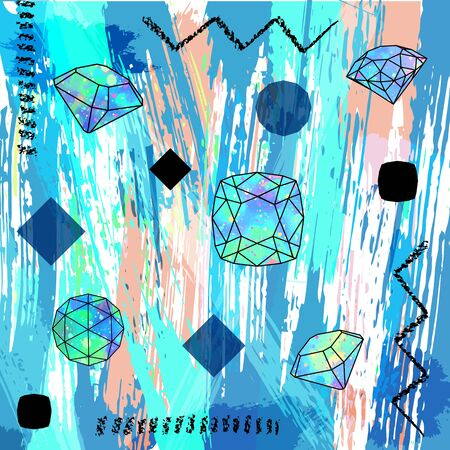 Abstract background composition, with strokes, splashes, geometric lines and gemstones. Vector