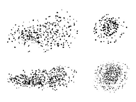 Set of artistic creative black paint brushes with dots, splatters circle spots, spray, drops. Vector