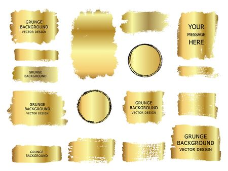 Collection of vector gold paint, ink brush stroke, line or texture with frame. Dirty artistic design element, box