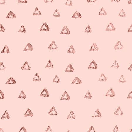 Rose gold triangle elegant abstract repeatable motif. Gold chic wrapping paper seamless pattern. Vector