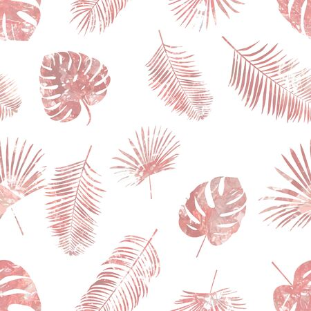 Rose gold tropical palm leaves. Seamless pattern 矢量图像