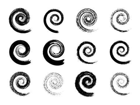 Set of spiral symbols. Hand painted with ink watercolor brush. Modern swirling blob button. Decorative circular coil ornament. Graphic design element. Vector 矢量图像