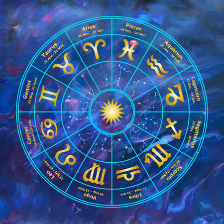 Color circle with signs of zodiac. Vector