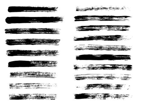 Painted grunge stripes. Black labels, background, paint texture. Brush strokes vector. Handmade design elements.